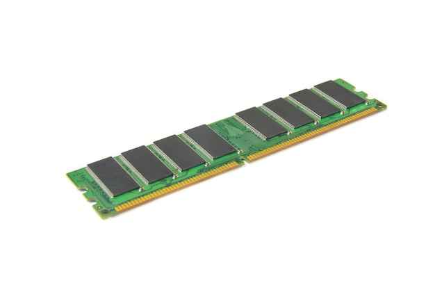 Computer ddr ram memory module isolated on white background selective focusing.