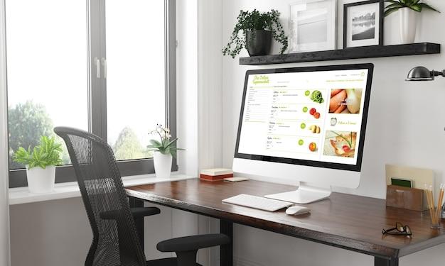 Computer on desktop black and white online supermarket 3d rendering
