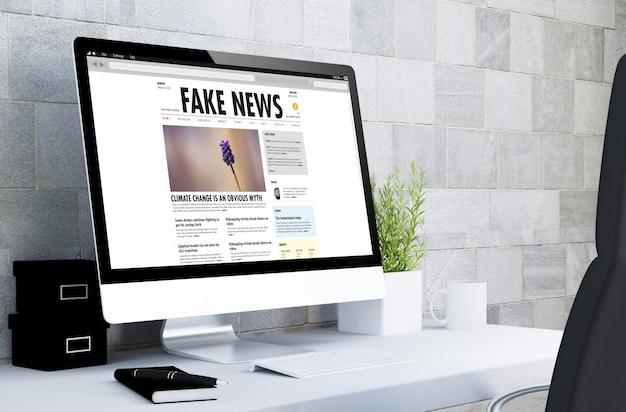 Computer on a desktop  fake news