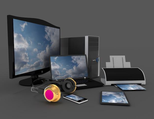 Компьютерная техника и оргтехника. 3d визуализированная иллюстрация
