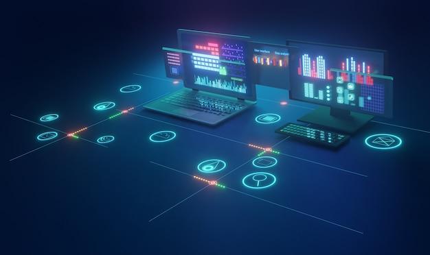컴퓨터 장치 기술 인터넷 concept.3d 렌더링