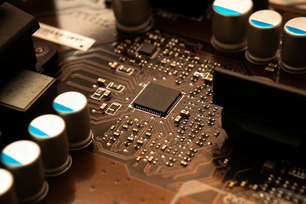 Computer digital chip with motherboard