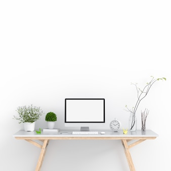 Computer display for mockup on table in white room, 3D rendering