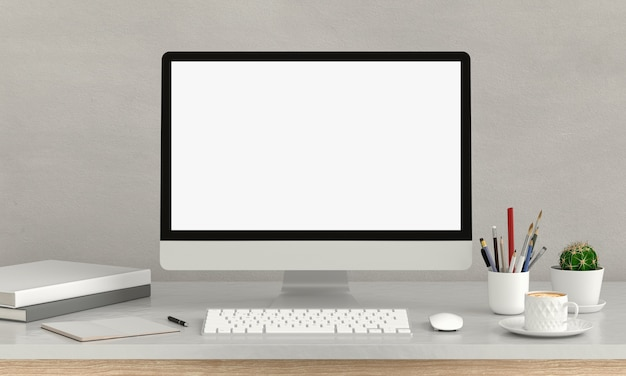 Computer display for mockup on table, 3d rendering