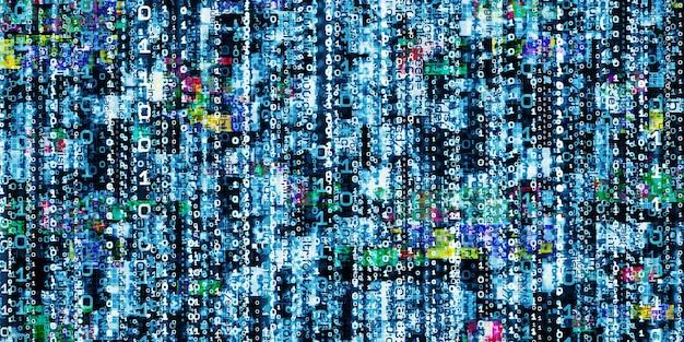 Computer error display corrupt binary data hacker digital binary data screen background 3d