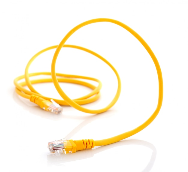 Computer ethernet cable isolated
