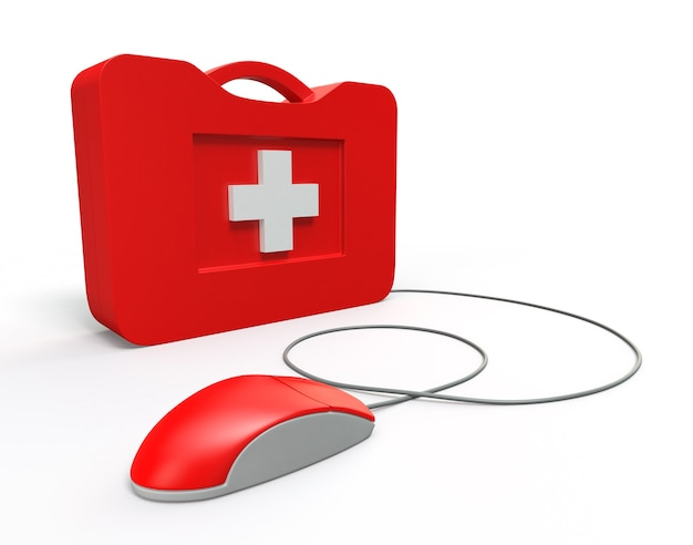 Computer first aid kit. isolated on white background.