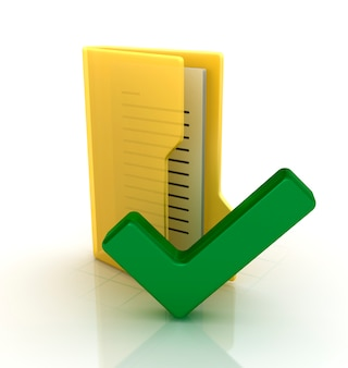 Computer folder with check symbol