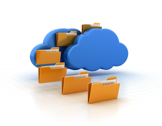 Computer folder with cloud computing
