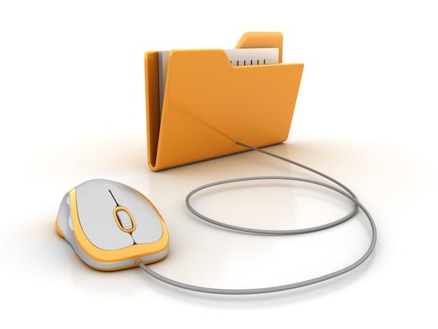 Компьютерная папка с компьютерной мышью