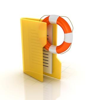 Computer folder with life belt