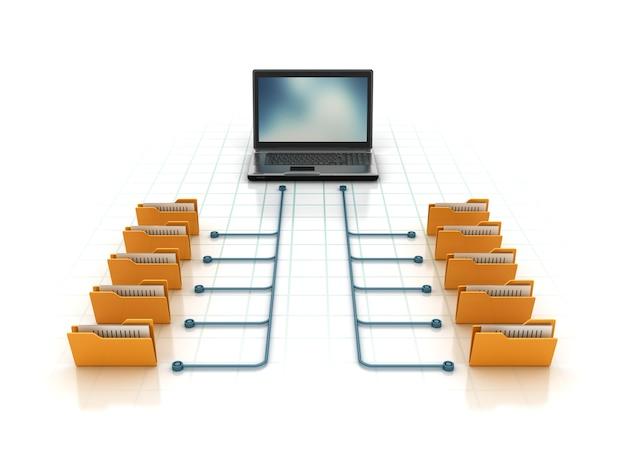 Компьютерные папки с ноутбуком