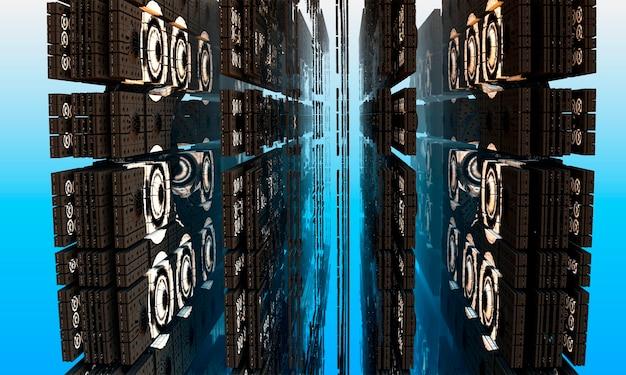 컴퓨터 생성 3d 프랙탈입니다. 아키텍처의 프랙탈 그림입니다. 동양 건축. 3d 렌더링.