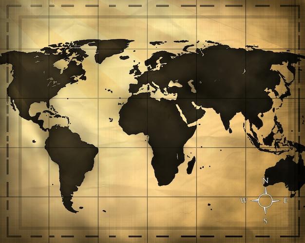 コンピューターで生成された世界の古い地図