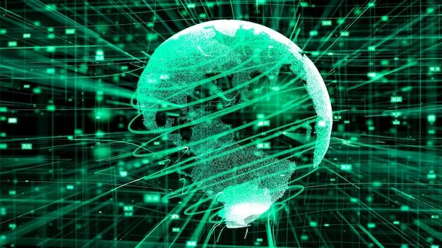グローバルなオンライン インターネット ネットワークのコンセプトのコンピューター グラフィック