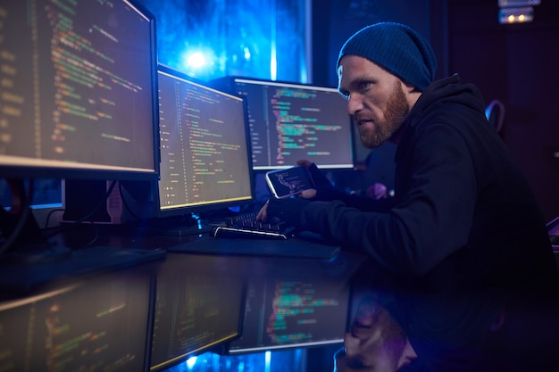 Computer hacker stealing the information