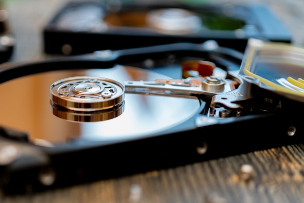Computer hard drive. computer repair. modern computer technology.