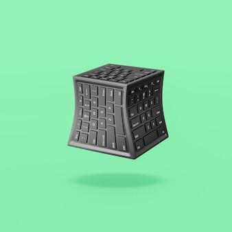 녹색 배경에 컴퓨터 키보드 큐브 모양