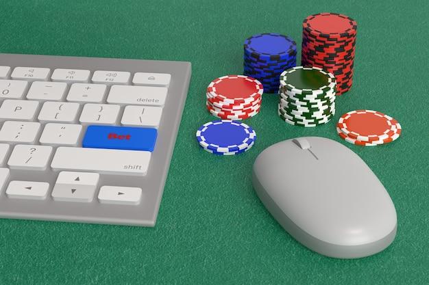 カジノチップの横に「賭け」というテキストが付いたキーが付いたコンピューターのキーボード。オンラインゲームのコンセプト。