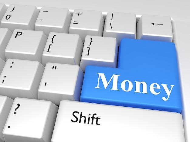 Компьютерная клавиатура с ключом со словами: деньги