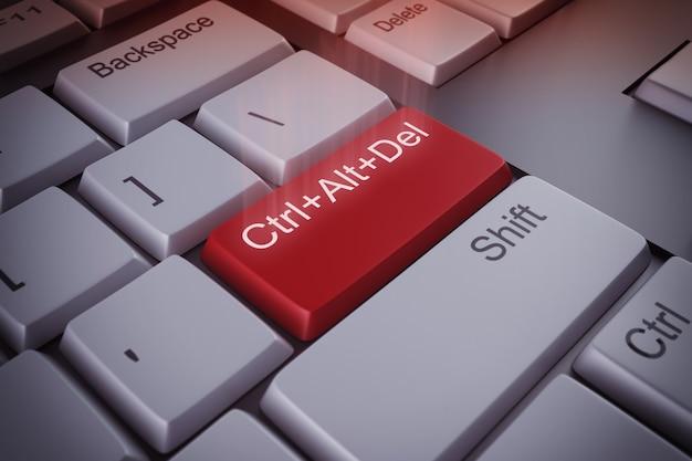 再起動の赤いキーレンダリングを備えたコンピューターのキーボード