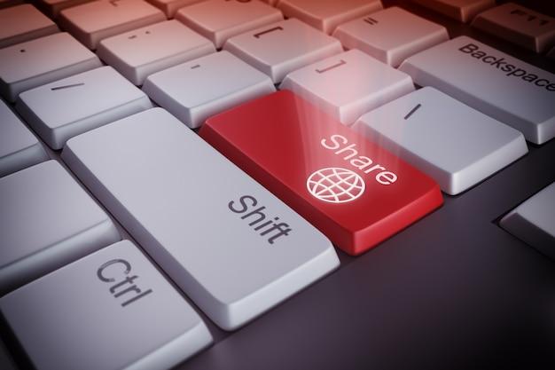 공유 빨간색 키와 컴퓨터 키보드