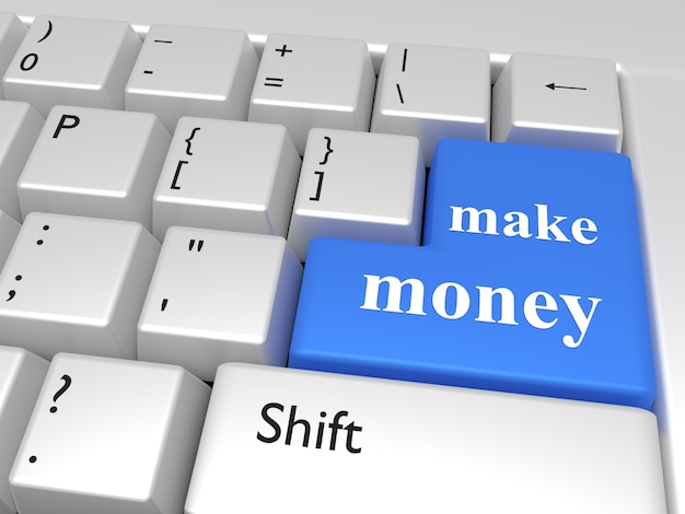 Computer keyboard with a key with words: make money