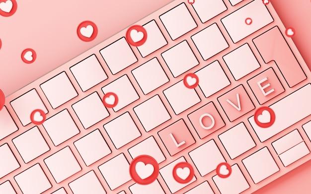 Компьютерная клавиатура с розовым значком символа сердца и на розовом фоне - 3d-рендеринг концепции социальной сети