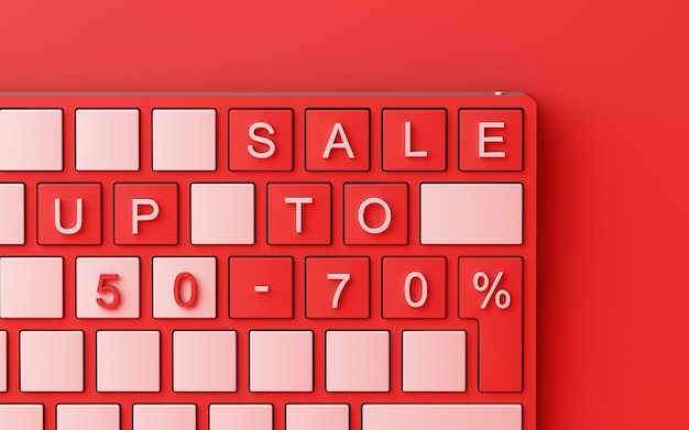 Computer keyboard with sale text on red background black friday sales concept 3d rendering