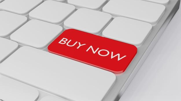 Компьютерная клавиатура со словом купить сейчас, концепция финансирования бизнеса 3d-рендеринга