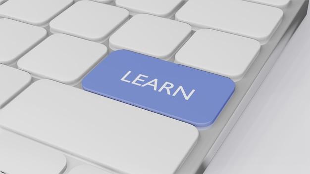 Компьютерная клавиатура со словом узнать, концепция финансирования бизнеса, 3d визуализация