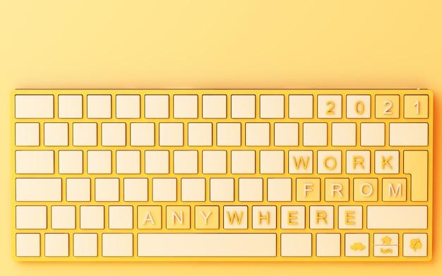 노란색 배경에 홈 텍스트에서 노란색 작업 컴퓨터 키보드-covid-19 개념 3d 렌더링