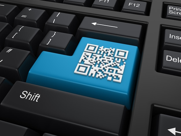 Computer keyword with qr code