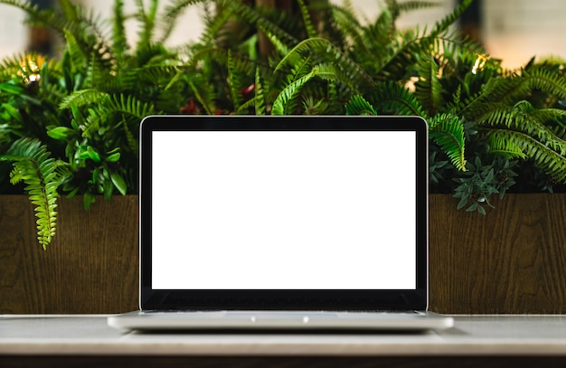 Computer laptop isolated white screen for mockup design