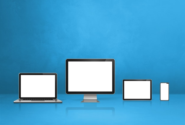 コンピューター、ラップトップ、携帯電話、デジタルタブレットpc-青いオフィスデスクの背景。 3dイラスト