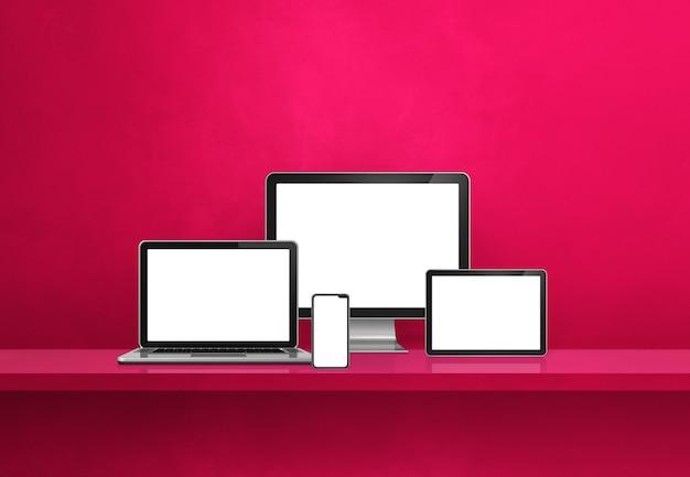 Computer, laptop, mobile phone and digital tablet pc - pink wall shelf banner. 3d illustration