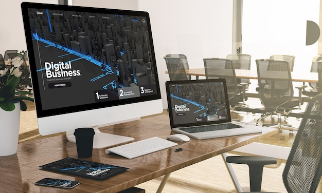 Computer, laptop, tablet, and phone with digital business at office mockup