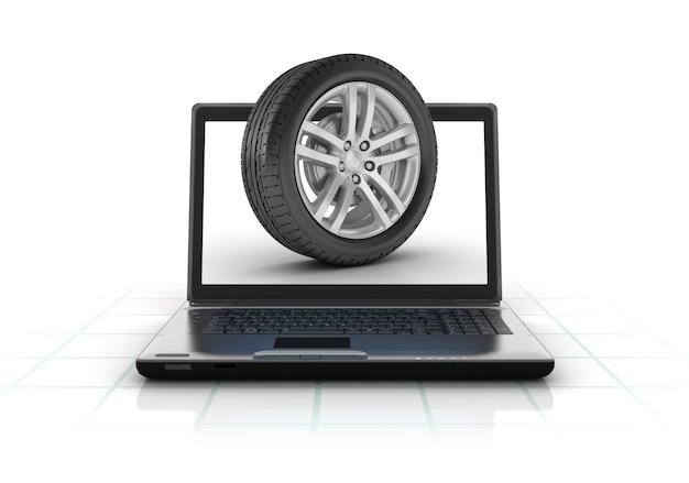Компьютерный ноутбук с автомобильным колесом