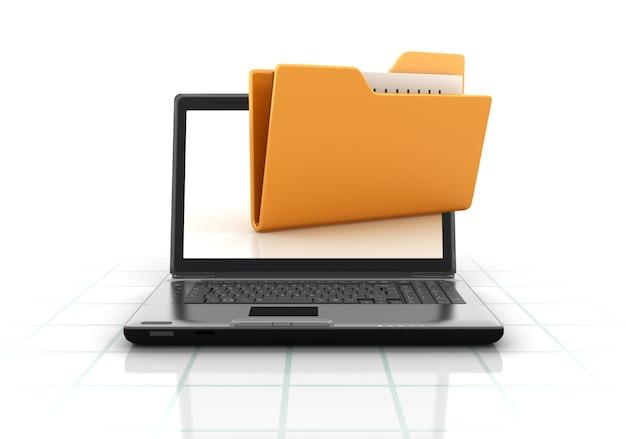Компьютерный ноутбук с папкой