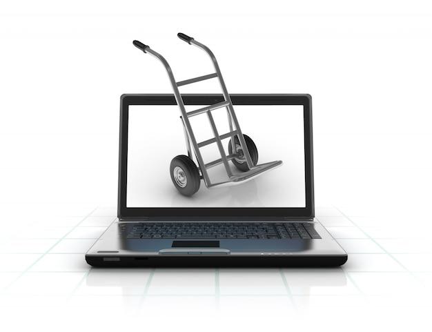 Компьютерный ноутбук с ручной тележкой