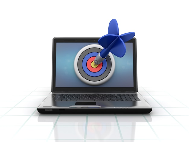 Computer laptop with target and dart