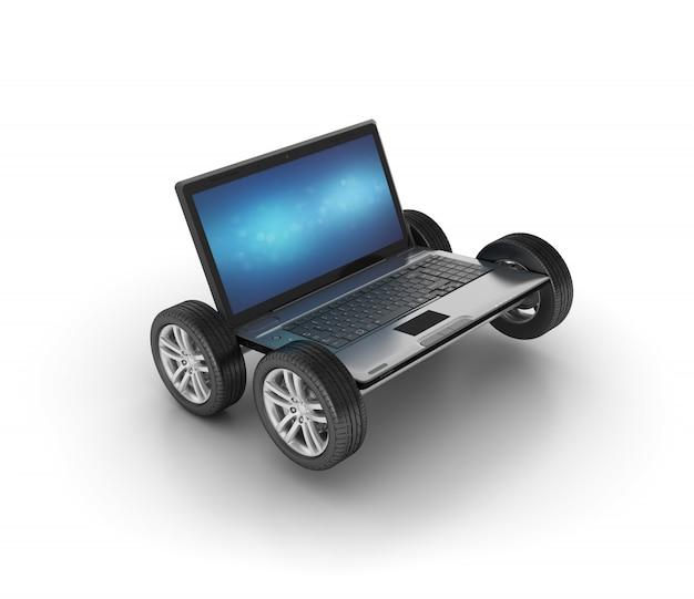 Компьютер ноутбук с колесами