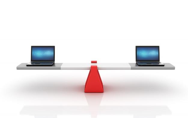 Компьютерные ноутбуки балансируют на качелях