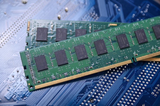 Computer memory ram on motherboard . close up. system, main memory, random access memory, onboard, computer detail. computer components . ddr3. ddr4. ddr5