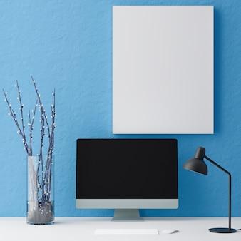 テーブルの上のコンピュータモックアップ青い背景。黒い画面のラップトップ..3dレンダリング