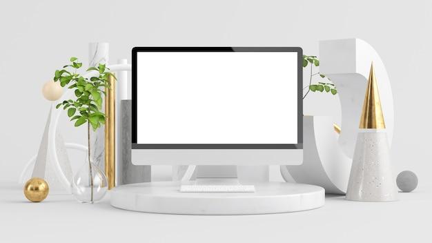 초현실적 인 배경 3d 렌더링에 컴퓨터 모니터를 조롱