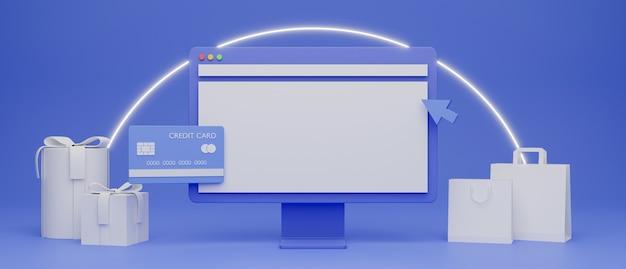 컴퓨터 모니터 쇼핑백 및 신용 카드 온라인 쇼핑 개념 3d 렌더링