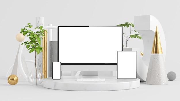 초현실적 인 배경 3d 렌더링에 컴퓨터 모니터, 태블릿 및 전화 모의