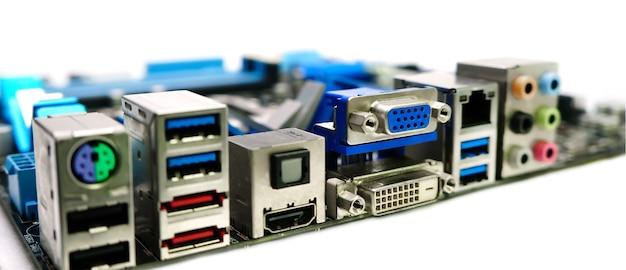 電源コネクタソケット付きのコンピュータマザーボードの背景
