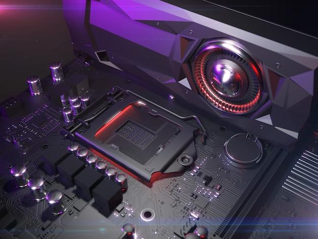 컴퓨터 마더 보드 cpu 소켓을 닫습니다. 3d 그림